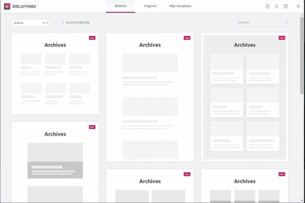 archief pagina maken in wordpress met elementor templates