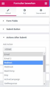 contactformulier redirecten naar bedankpagina elementor