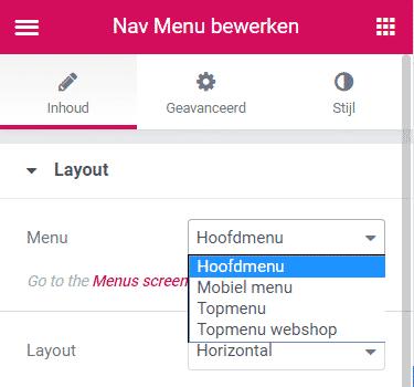 menu in header aanpassen met elementor