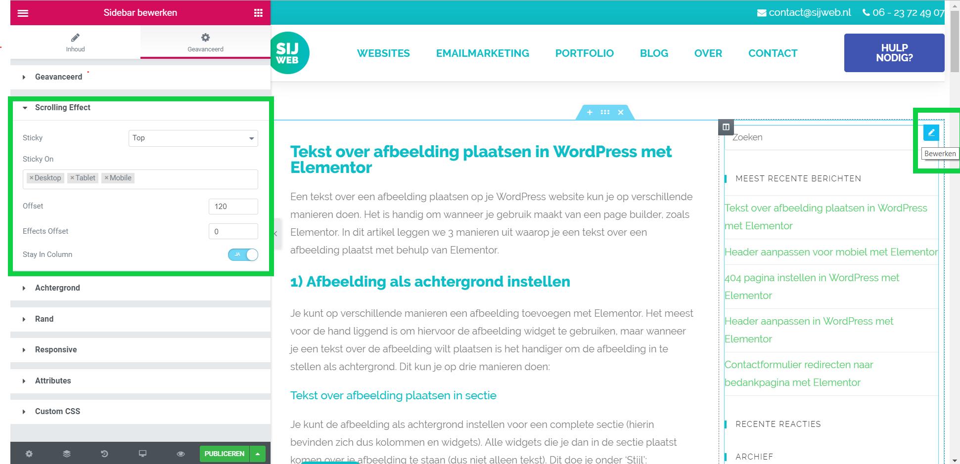 Wat is een Sticky Sidebar en hoe stel je dit in? | SIJ Web