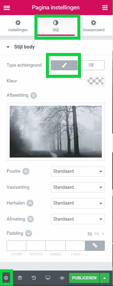 Achtergrond afbeelding aanpassen Elementor