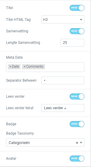 Blogpagina maken in wordpress met posts widget elementor