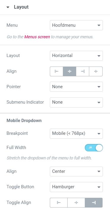 Elementor menu layout aanpassen