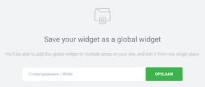 Global widget contactgegevens opslaan