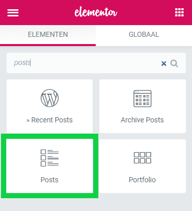 Posts widget Elementor