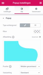 Achtergrondafbeelding popup aanpassen elementor