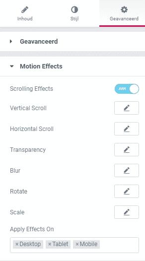 Motion effects instellen elementor