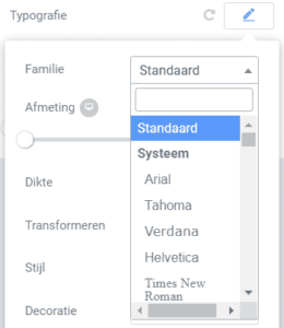 Tekstopmaak aanpassen Elementor font
