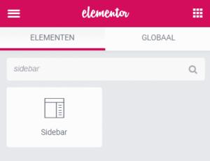extra sidebar toevoegen in wordpress met elementor