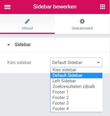 extra sidebar toevoegen in wordpress met elementor sidebar widget