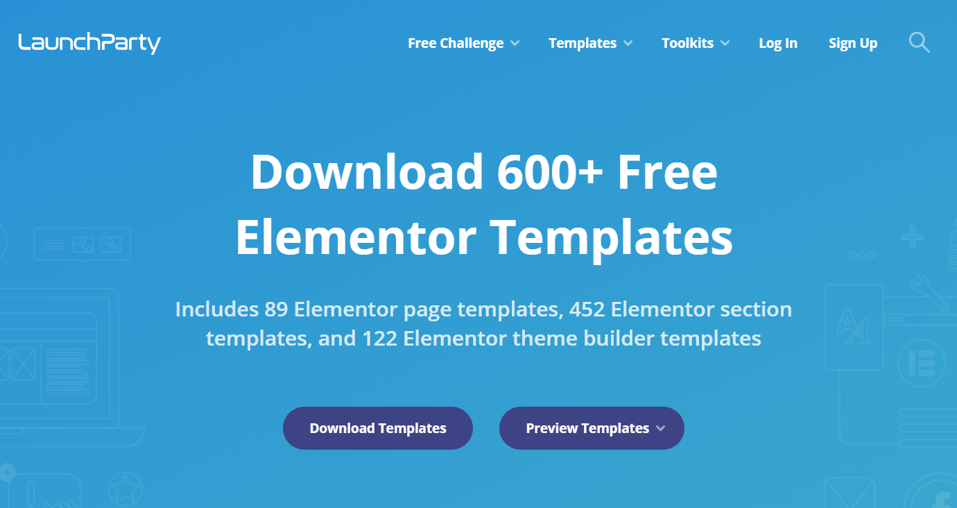 Elementor templates - LaunchParty