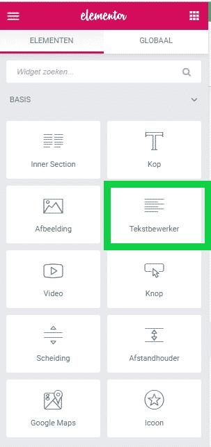 Tekstbewerker widget