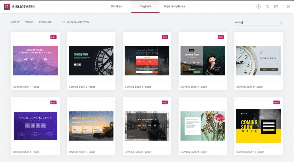 Templates onderhoudsmodus website in ontwikkeling elementor