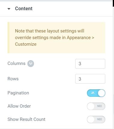 Woocommerce categorie pagina aanpassen elementor opties weergave