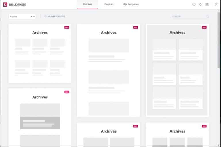 wordpress zonder thema - archief pagina's instellen met elementor