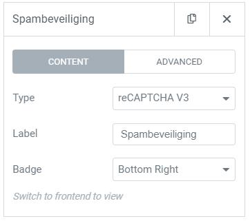 Contactformulier beveiligen tegen spam elementor recatcha v3