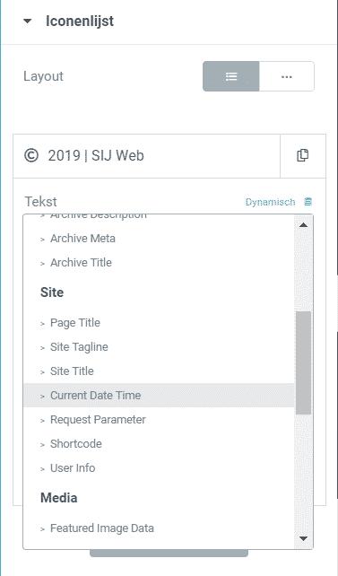 Jaartal automatisch bijwerken footer wordpress elementor