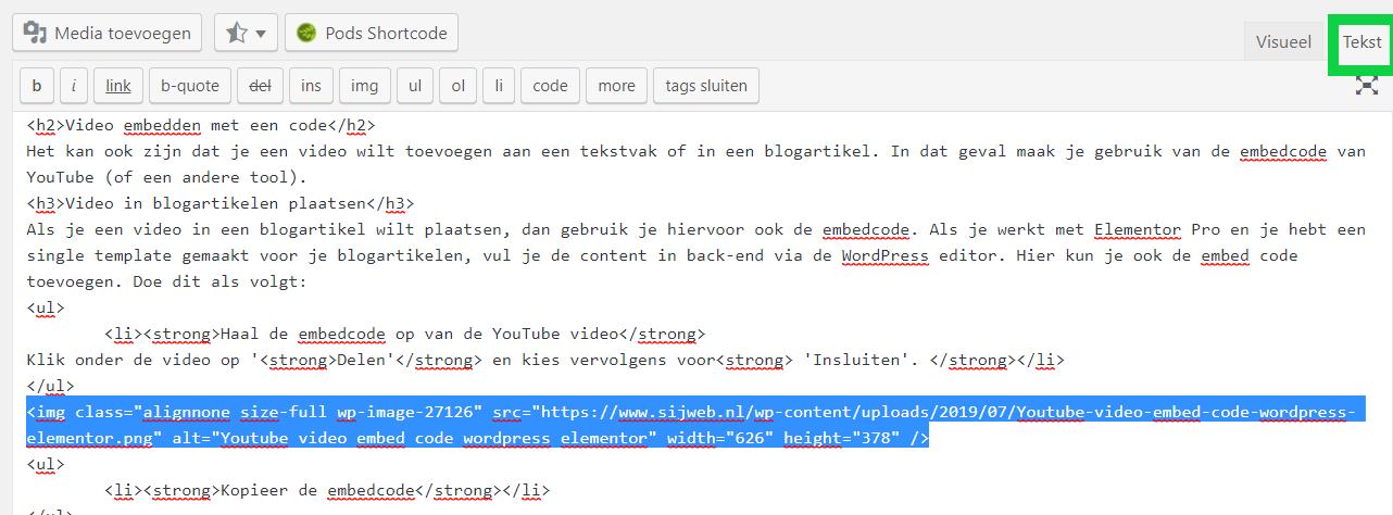 YouTube embed code in blogartikel elementor plaatsen