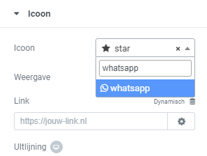 whatsapp knop maken website elementor icoon whatsapp