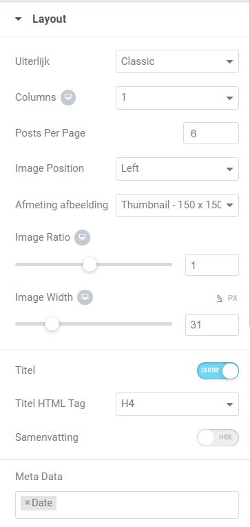 blog in footer plaatsen layout opties elementor