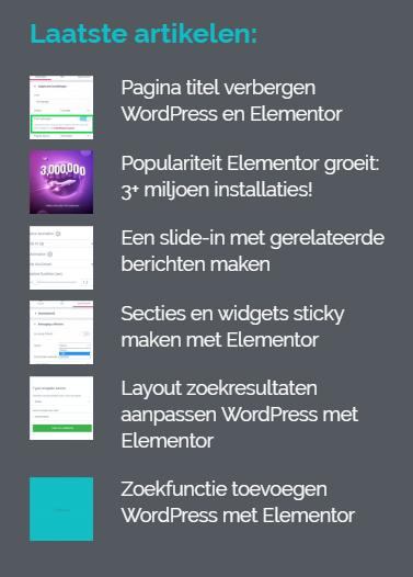 laatste blogs in footer wordpress elementor
