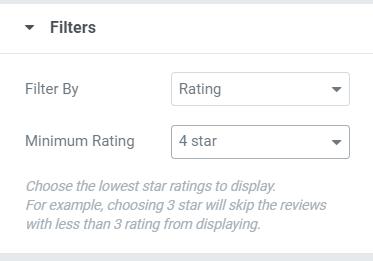 Filter google reviews elementor addon